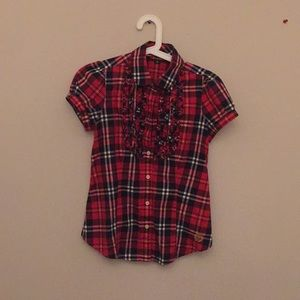 Other - Red Plaid Short Sleeve Button Up
